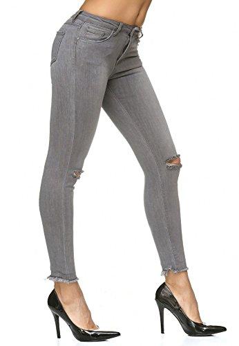 Strappato D2235 Distrutto Donna Pantaloni Arizonashopping Jeans Ginocchio Grigio Stretch afHtBq