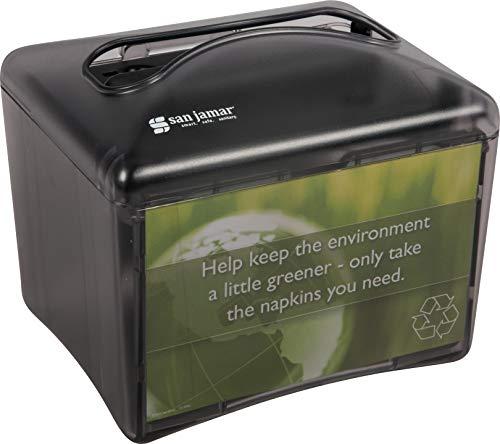 (San Jamar H4003 Venue Table Top Interfold Napkin Dispenser, 200 Capacity, Black Pearl)