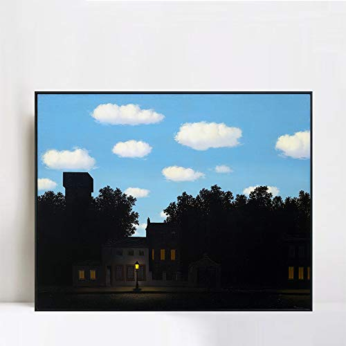 (INVIN ART Framed Canvas Giclee Print Art The Empire of Lights by Rene Magritte Wall Art Living Room Home Office Decorations(Black Slim Frame,24
