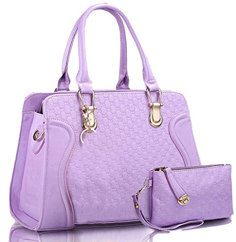Womens Unique Purple Handbag With Wallet ladieis Satchel & Top Handle Bag ()