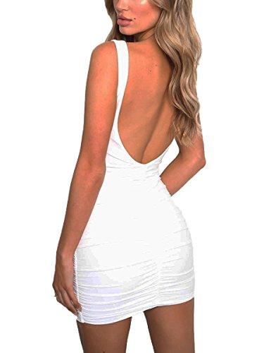 MISFONDLE Women's Sexy Bodycon V Neck Backless Pleated Strap Mini Club Dress White