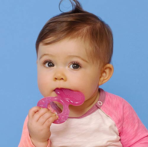41XFE2tBn8L - Nuby Silicone Teethe-eez Teether With Bristles, Includes Hygienic Case, Pink