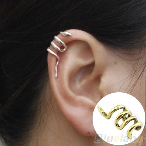 Jmusi 1 PC Fashion Punk Unique Snake Shape Cuff Wrap Ear Clip Earring Silver one (Silver Unique Shape Clip)