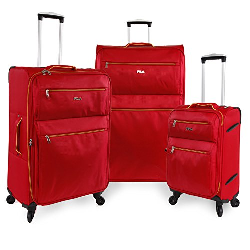 Fila Shw Ltwt Roll Travel Lug 3 Piece Set with 32'', Red by Fila