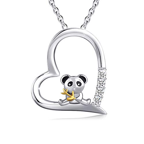 Cuoka Panda Necklace Panda Jewelry 925 Sterling Silver Bamboo Panda Bear Necklace for Women Animal Panda Lover Gift (A-Silver)