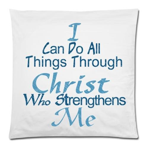 Home Sofa Decorative Christian Quotes theme I Can Do All Things Through Christ Who Strengthens Me Zippered Pillow Case Decor Cushion Cover Square 20 x 20 Inches (Twin Sides) by Quotes Theme Cushion Case