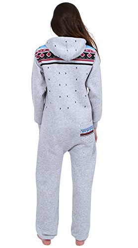 Juicy Trendz Ladies Printed Onesie Hoodie Women's Jumpsuit All In One H Aztec Grey Large