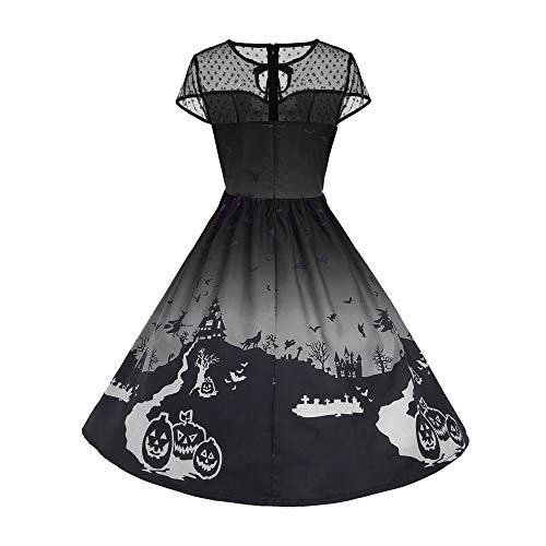 Forthery Clearance Women's Halloween Costume Dress Pumpkin Skater Swing Dress Funny Skull Dress (L, Black) -