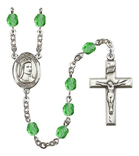 Silver Plate Rosary features 6mm Peridot Fire Polished beads. The Crucifix measures 1 3/8 x 3/4. The centerpiece features a St. Elizabeth of Hungary medal.