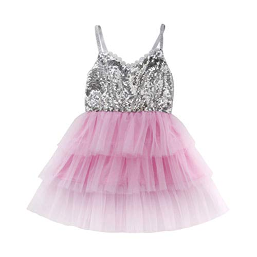 New Party Toddler Kids Baby Girl Tulle Sequins Gold Silver Formal Dress Dresses Summer Ruffle 1-6Y Silver 24M]()