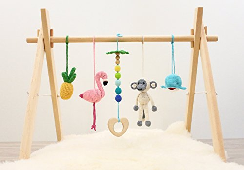 Baby play gym Tropical Adventure. Flamingo, Pineapple, Monkey, Whale, Palm tree. Activity baby center. Wooden baby gym frame and crochet baby gym toys…