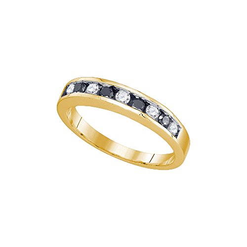 10kt Yellow Gold Womens Round Blue Colored Diamond Band Ring 1/4 Cttw by JawaFashion