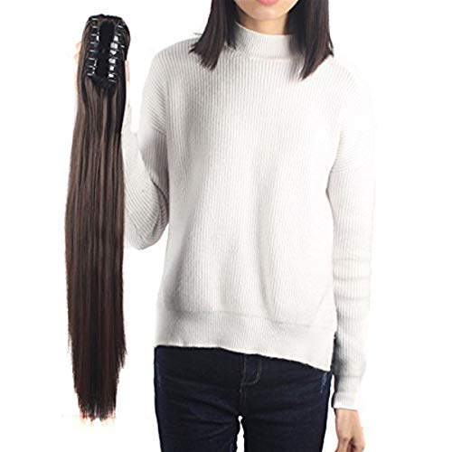FUT Womens Claw Ponytail Clip in Hair Extensions 21 inches Long Straight Hairpiece