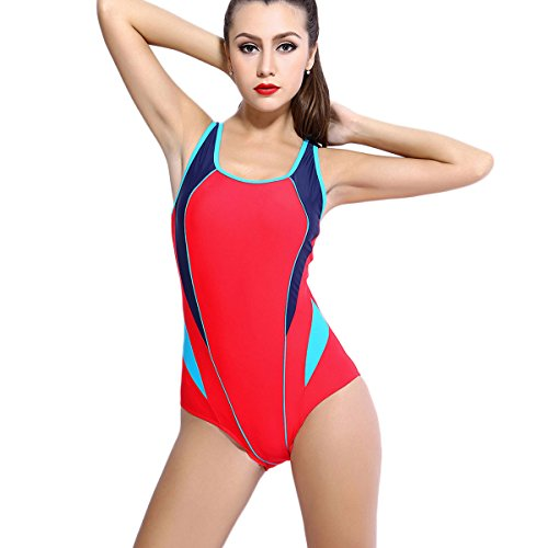 One Piece Sports Swimwear Bathing Suit Backless Splice Bikini Swimsuit (Red ,Small/40-US Size 4-6 ) -- 7th Element