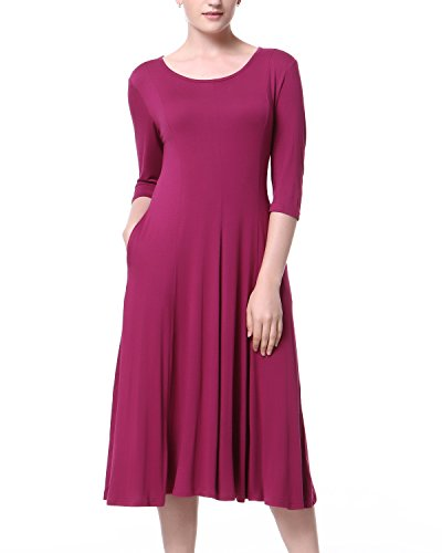 90 S Dress (Mixfeer Women's Scoop Neck 3/4 Sleeve Pleated A-line Swing Flare Casual Midi Dress)