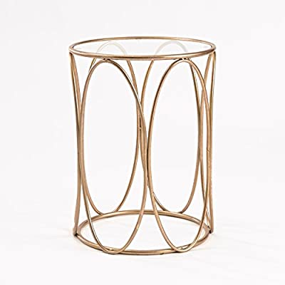 FirsTime & Co. InnerSpace Luxury Products Oval Side Table with Glass Top - Rose Gold Finish Clear Beveled Glass Tabletop Contemporary Geometric Design - living-room-furniture, living-room, end-tables - 41XFGMoyrDL. SS400  -