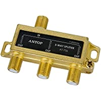 3-Way ANTOP Signal Splitter for TV and Satellite, 18K Gold-plated chassis, Low-loss, All Port DC Power Passing(AT-706)