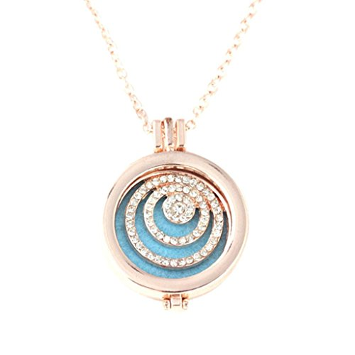 Usstore 1PC Women Fragrance Necklace Locket Essential Oil Diffuser Pendant Chain Jewelry Gift (B)