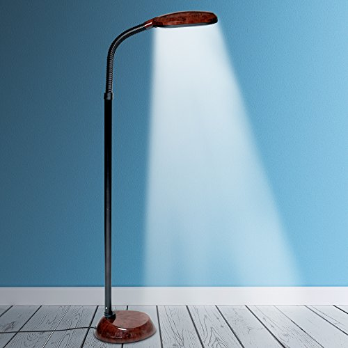 Kenley Natural Daylight Floor Lamp - Tall Reading Task Craft Light - 27W Full Spectrum White Bright Sunlight Standing Torchiere for Living Room, Bedroom or Office - Adjustable Gooseneck Arm - Brown