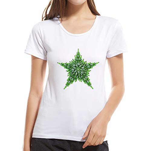 Onefa Cotton Ladies Print Fashion Sweat-Absorbent and Deodorant T-Shirt Star Print Easy to Wash Simple Design Suitable for Daily Wear Sports Travel
