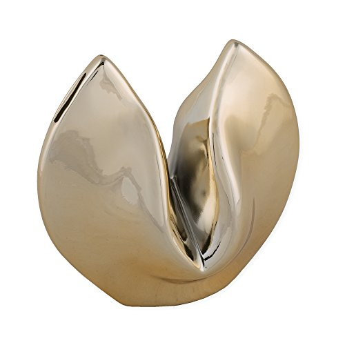 Fortune Cookie Goldtone 7 x 7 Inch Metal Tabletop Money Coin Bank