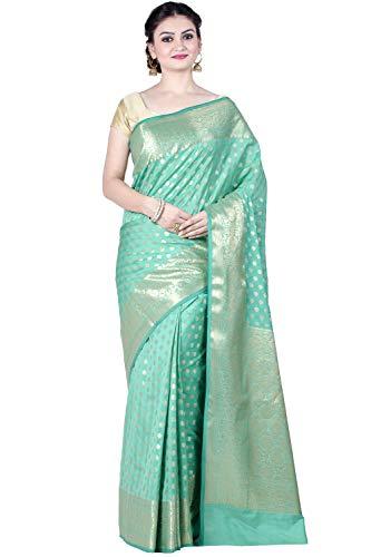 Blue Kataan Silk Blend Banarasi Saree,Free Size(1299BLU) ()