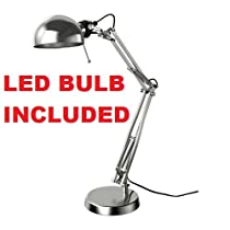 Ikea Table Lamp Work Reading Led (Bulb Included) Silver Forsa Adjustable