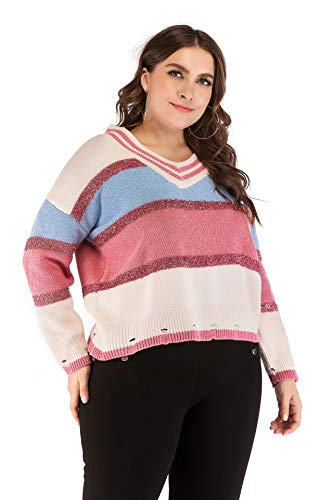 (M.Y.X Pink Stripe Cropped Sweater V Neck Jumper Winter Autumn Dressing Girls)