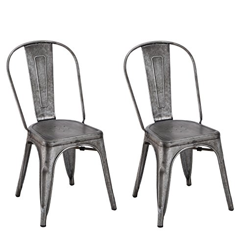 Adeco Metal Stackable Industrial Chic Dining Bistro Cafe Side Chairs, Dark Rustic Grey (Set of - Dining Chair Side High