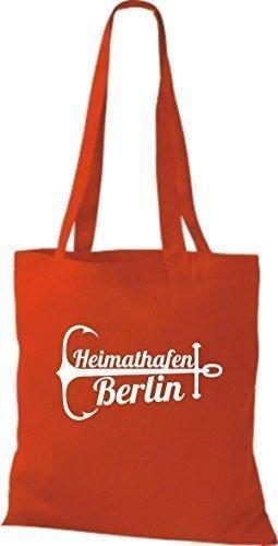 ShirtInStyle Bolsa de tela Bolsa de algodón Puerto Berlín Rojo