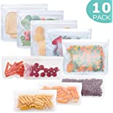 Reusable Storage Bags 10 Pack, FDA Food Grade Ziplock Lunch Bags, Leakproof Freezer Bag for Snacks, Fruits, Sandwiches…
