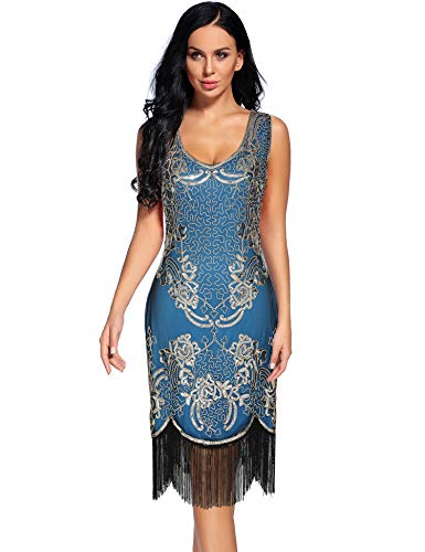 Women's 1920s V Neck Vintage Sequin Fringed Great Gatsby Cocktail Dress (M, Blue) -