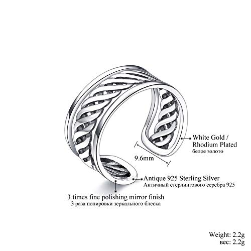 HCBYJ Lady ring 925 Sterling Silver Open Ring Adjustable Chic Jewels Female Wedding Thickness Band