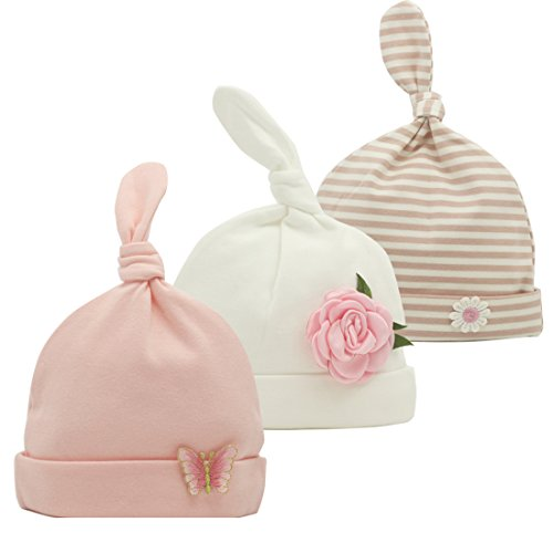 (Nihao Baby Top Knot Baby Newborn Hospital Hat Infant Toddler Girl Beanie Hat 3 Pack (Bright Pink, 0-6 Months))