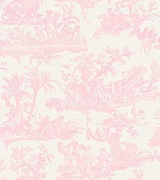 amelia toile papier peint toile de jouy rose puacircle with papier peint toile de jouy rouge. Black Bedroom Furniture Sets. Home Design Ideas