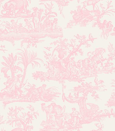 Amelia Toile De Jouy Wallpaper Pale Pink 262994