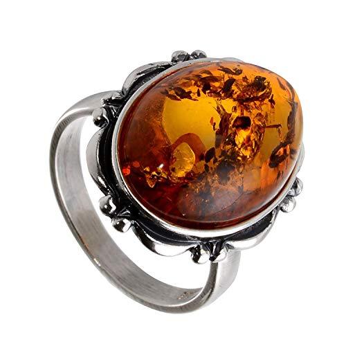HolidayGiftShops Sterling Silver and Baltic Honey Oval Amber Ring size: 8.5