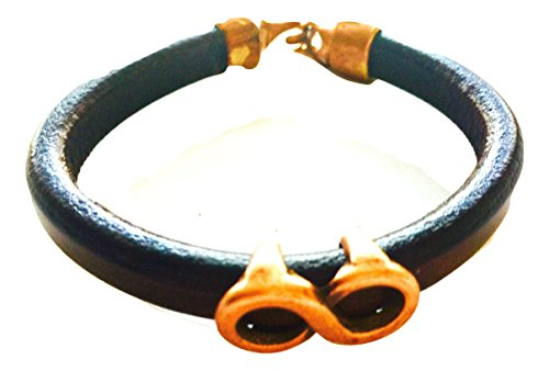 Divine Spark 10mm Thick Black Leather Bracelet with Copper Patina Infinity Center and Rustic Flame Charm - Black Licorice Leather Bracelet
