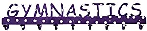 Snowflake Designs Purple Polka Dot 9 Hook GYMNASTICS Medal Rack