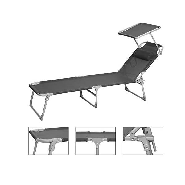41XFIqHSBAL SONGMICS Sonnenliege, Liegestuhl, Gartenliege, mit Kopfstütze und Sonnendach, Rückenlehne verstellbar, leicht, klappbar…