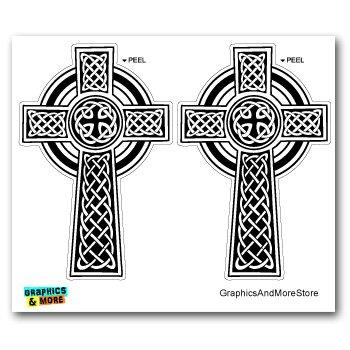 Graphics and More Celtic Christian Cross - Irish Ireland Scotland Scottish - Black White - Set of 2 - Window Bumper Locker Stickers ()