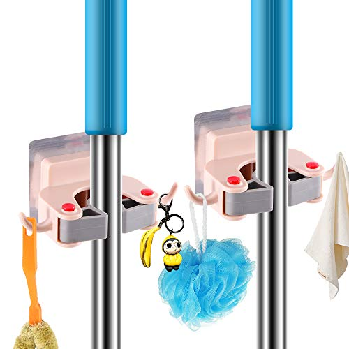 Storage Hooks Adhesive,Aulzaju Garage Garden Tool Organizer Wall Mounted Mop Broom Holder Hanger Cleaning Tools Gripper Waterproof Door Hook Heavy Duty Indoor Outdoor-2 Pack 4 Stickers(2 Pack, Pink)
