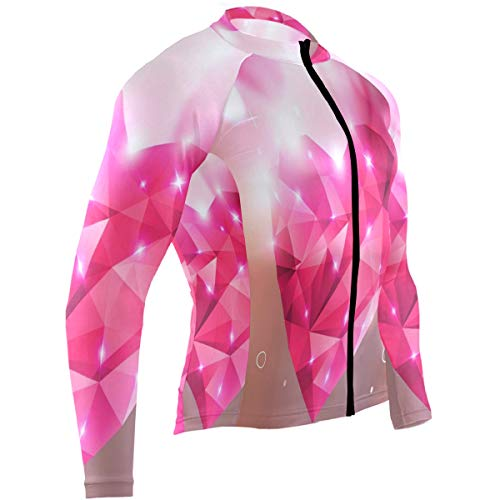 Pink Love Heart Mens Cycling Jersey Top Long Sleeve Mountain Cycle Skinsuits Outfit