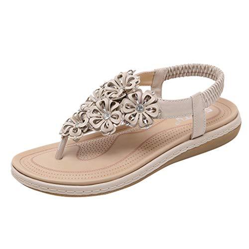 JJLIKER Women Bohemian Floral Rhinestone Flat Sandals Ankle Stretch Strap Flip Flops Non-Slip Low Wedges Shoes Beige - Pumps Bejeweled