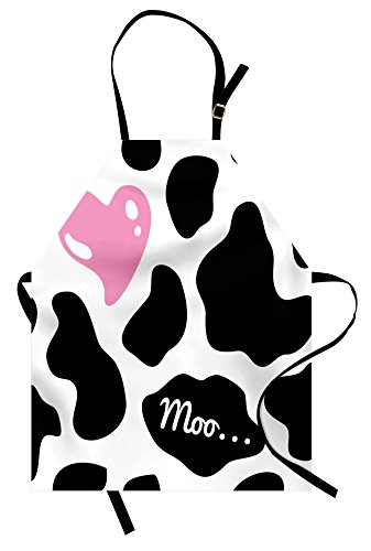 Ambesonne Cow Print Apron, Camouflage Hide Pattern in Black and White with Cute Pink Heart Shape Moo, Unisex Kitchen Bib Apron with Adjustable Neck for Cooking Baking Gardening, Pink Black (Cow Pattern)