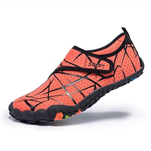 FEIFAN Men Women Water Shoes Quick Dry Adult Beach Swim Barefoot Lightweight Water Shoes Orange 39