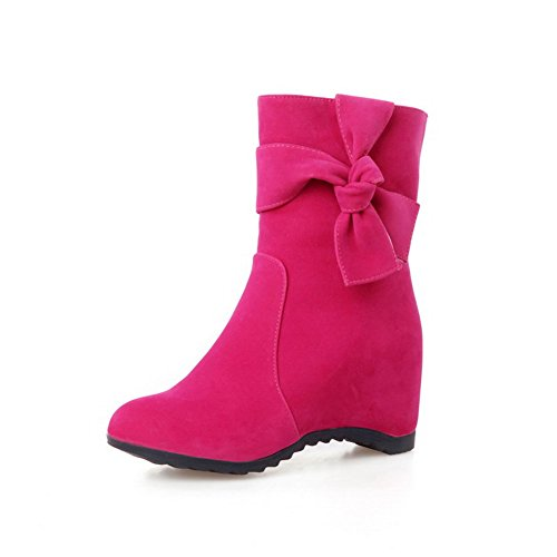 Natural Wonders Bouquet (WeenFashion Women's Low Top Pull On Frosted Kitten Heels Round Closed Toe Boots, Rosered,)