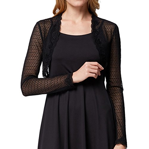 Belle Poque Ladies Long Sleeve Cropped Cardigan Lace Bolero Shrug (Black, M) BP534-1 - Lace Cropped Cardigan