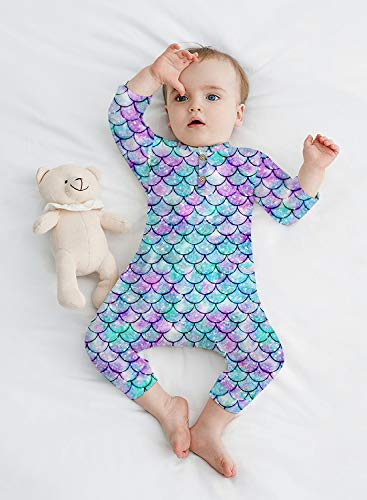 Newborn Baby Girls Long Sleeve Romper Mermaid Bodysuit Jumpsuit Toddler Purple Fish Scale Onesies Fall One Piece Coveralls Going Home Outfit for 6-12 Month