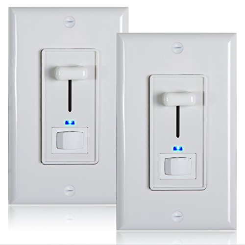 (Maxxima 3-Way / Single Pole Dimmer Electrical Light Switch With Blue Indicator Light 600 Watt max, LED Compatible, Wall Plate Included (2 Pack))